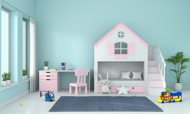 Светло голубой интерьер детской комнаты Premium Фотографии