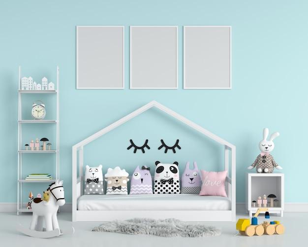 Три пустые фоторамки для макета в детской спальне Premium Фотографии