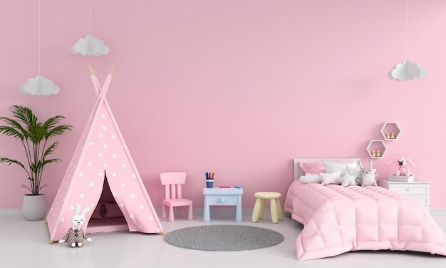 Розовый интерьер детской комнаты для макета Premium Фотографии