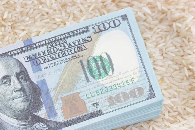 Деньги и банкнота дорогой рисовый бизнес экспорт Premium Фотографии