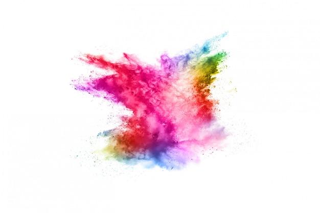 Красочный взрыв порошка на белизне. Premium Фотографии