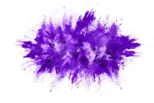 Фиолетовый взрыв частиц пыли на белом фоне Premium Фотографии