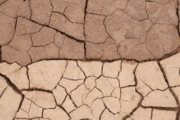 干ばつ時の乾燥した割れた土の土または土のテクスチャ。 Premium写真