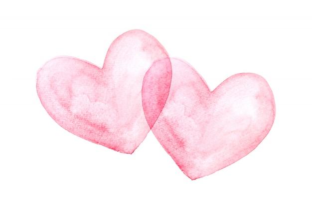 Красное сердце помещается на белом фоне, акварель. Premium Фотографии