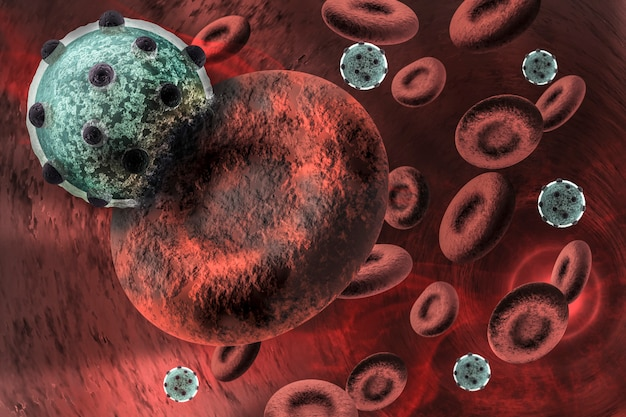 Вирус, заражающий эритроцит Premium Фотографии