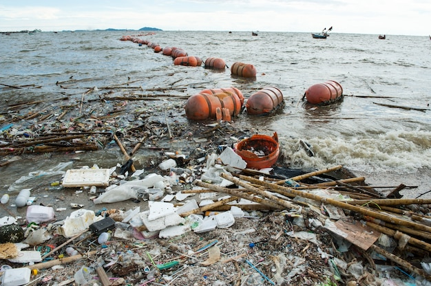 ビーチの汚染、泡、竹、プラスチック、海からの廃棄物 Premium写真