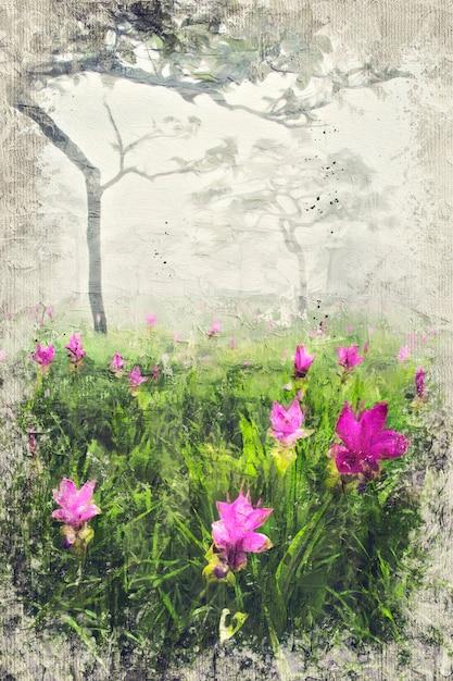 サイアムチューリップ畑。写真家によるデジタルアートインパスト油絵 Premium写真
