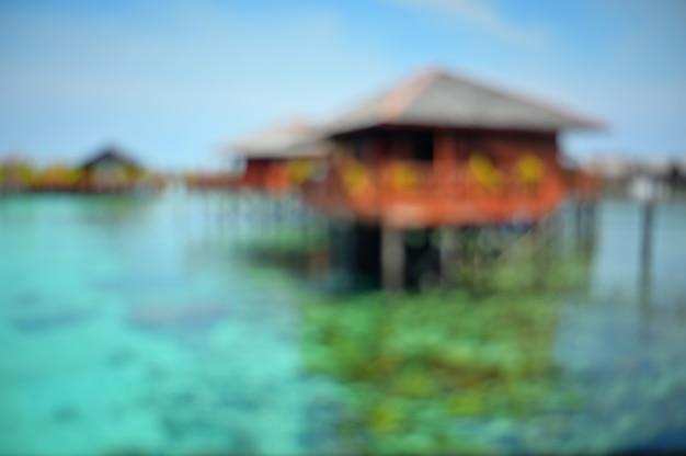抽象的なぼやけた海の海夏の背景。 Premium写真