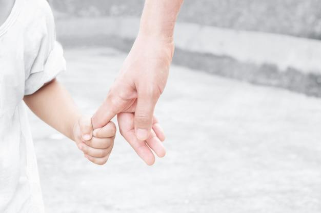 母と子の手と朝の自然 Premium写真