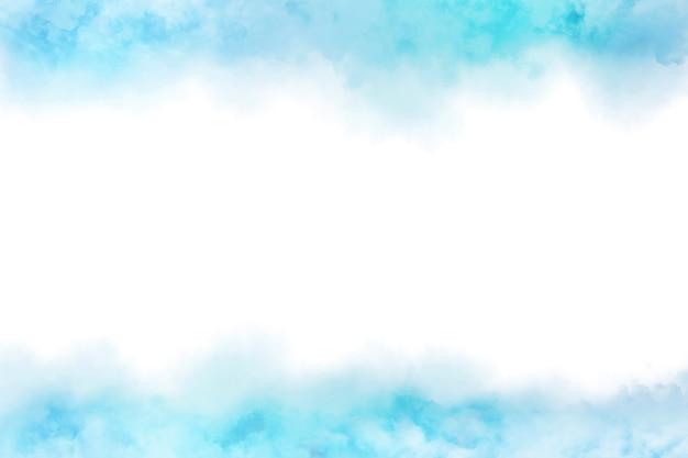 クラウドテクスチャ背景と抽象的な青い水彩画 Premium写真