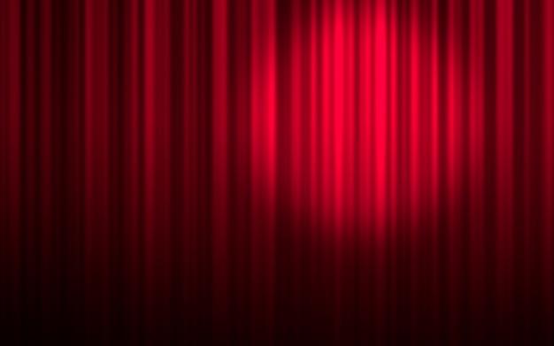 Красная театральная занавеска с прожектором Premium Фотографии