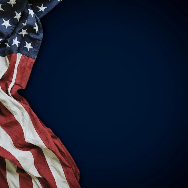 青のアメリカ合衆国の旗 Premium写真