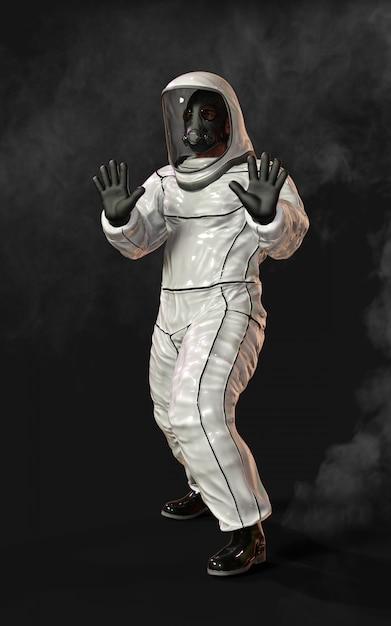 マスクを着用し、煙に囲まれた保護バイオハザードスーツを着た男 Premium写真
