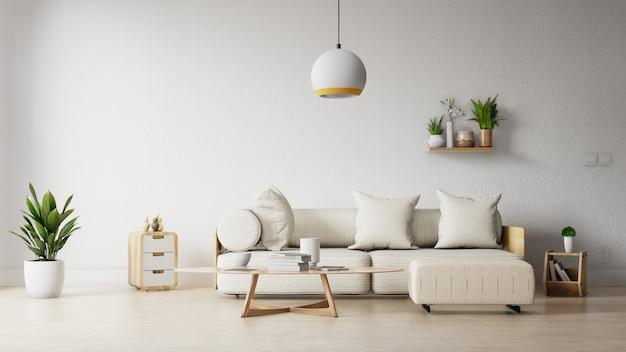 カラフルな白いソファ付きのインテリアフレームリビングルーム Premium写真