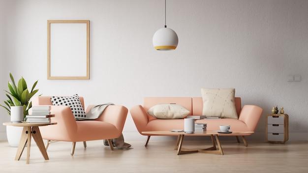 Современная гостиная с пустым плакатом на стене Premium Фотографии