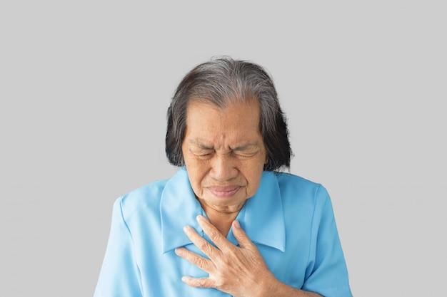 Изжога - это чувство жжения в груди людей, и это симптом кислотного рефлюкса или гэрб. Premium Фотографии