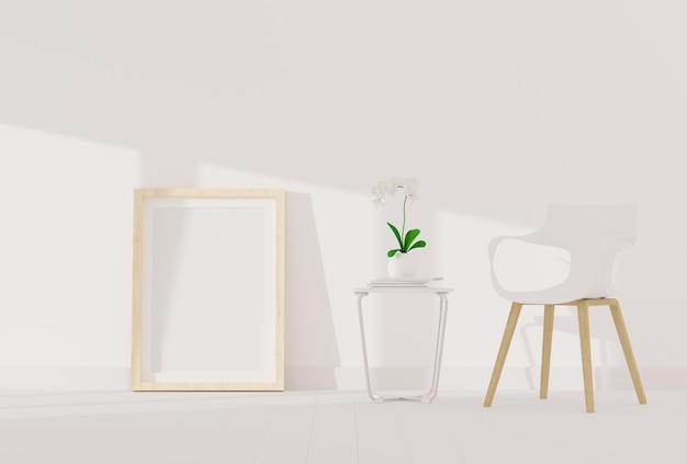 モダンなリビングルームのモックアップの空白のフォトフレーム Premium写真