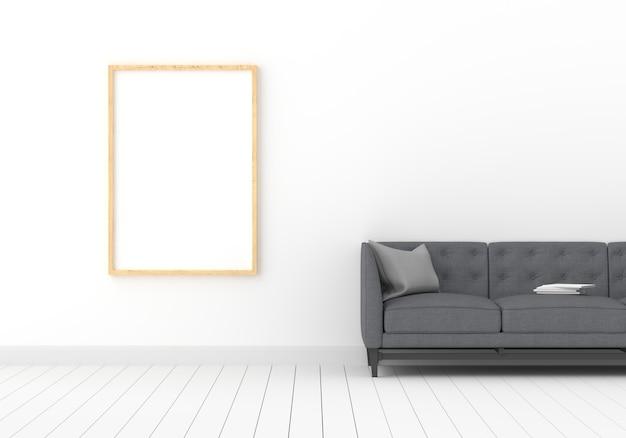 Фоторамка для макета в белой комнате Premium Фотографии