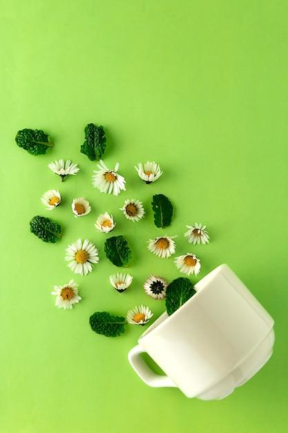 紅茶とカモミールのカップ。ハーブの天然茶のコンセプトです。カモミールの花と紅茶の白いカップ。 Premium写真