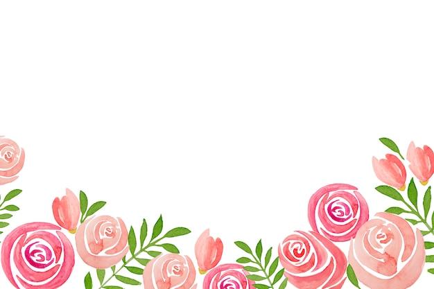 白地にピンクのバラの花のフレームの手描きセット。 Premium写真