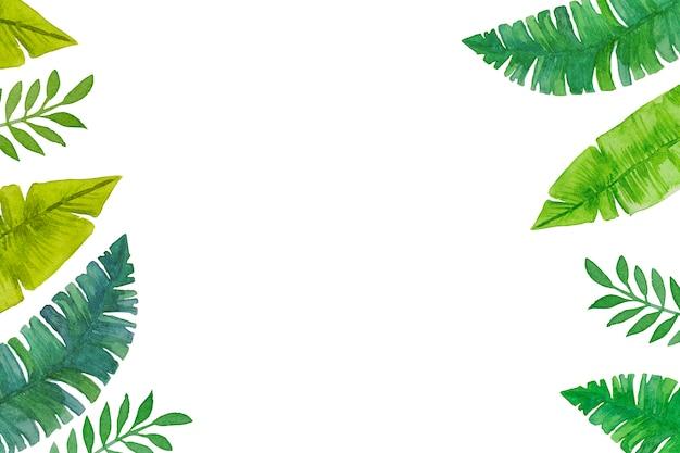白い背景の水彩画、手描きの緑の熱帯の葉。 Premium写真