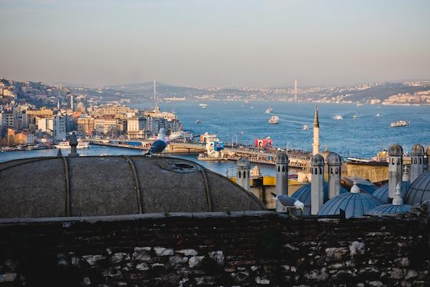 イスタンブールの街のパノラマビュー。 Premium写真