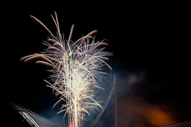 Красочный фейерверк над ночной город, свободный черный пространство для текста. Premium Фотографии
