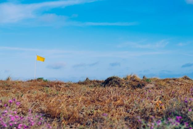 青い空を背景にビーチで黄色の警告フラグ。 Premium写真