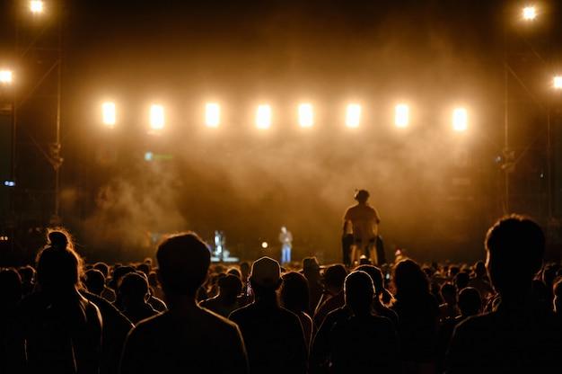 シルエットの若者の観客が夜のコンサートを見ています Premium写真