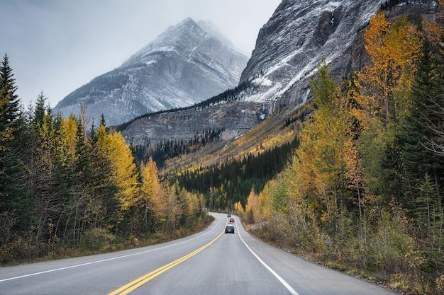 ジャスパー国立公園で秋の森のロッキーマウンテンと風光明媚な道路の旅 Premium写真
