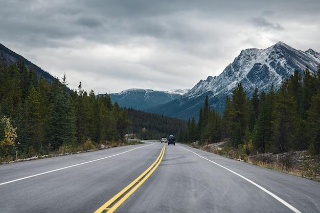 バンフ国立公園で憂鬱な秋の森のロッキー山脈との遠征 Premium写真
