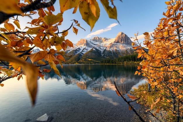 キャンモアのランドルフォアベイ貯水池での黄金の葉の反射とマウントローレンスグラッシの日の出 Premium写真