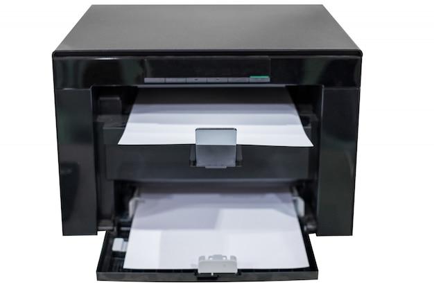 Белая бумага в черном тонере для лазерного принтера Premium Фотографии