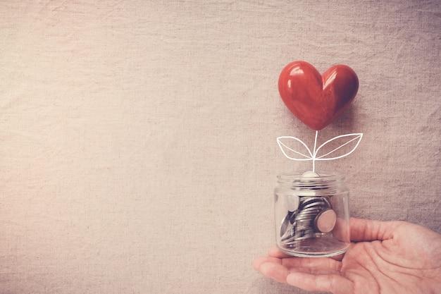 お金のコインに成長しているハートの木の瓶を持っている手 Premium写真