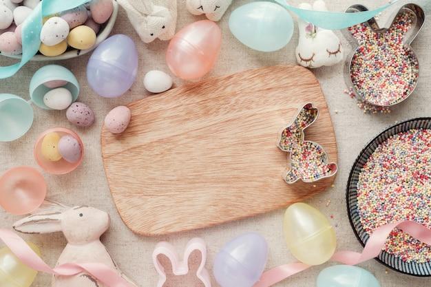 イースターエッグとウサギの子供たちの背景 Premium写真
