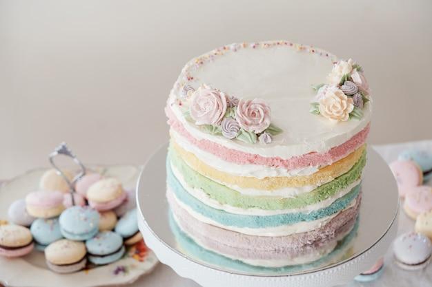 自家製パステル調のカラフルなレイヤードバースデーケーキとマカロン Premium写真
