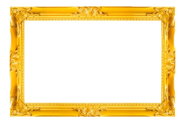 ゴールドヴィンテージ写真と写真のフレームは、白い背景に隔離されています。 Premium写真
