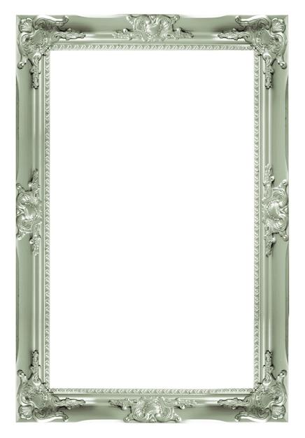 シルバーヴィンテージの写真と写真のフレームは、白い背景にある。 Premium写真