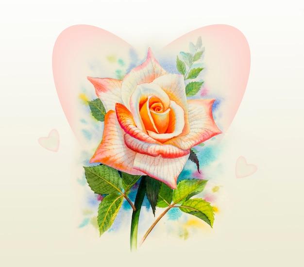 バラの水彩画オリジナルの花。 Premium写真