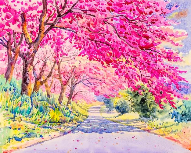 野生のヒマラヤ桜の花のピンク色を塗る。 Premium写真