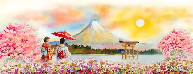 日本の旅行富士山 - アジアの有名なランドマーク。 Premium写真