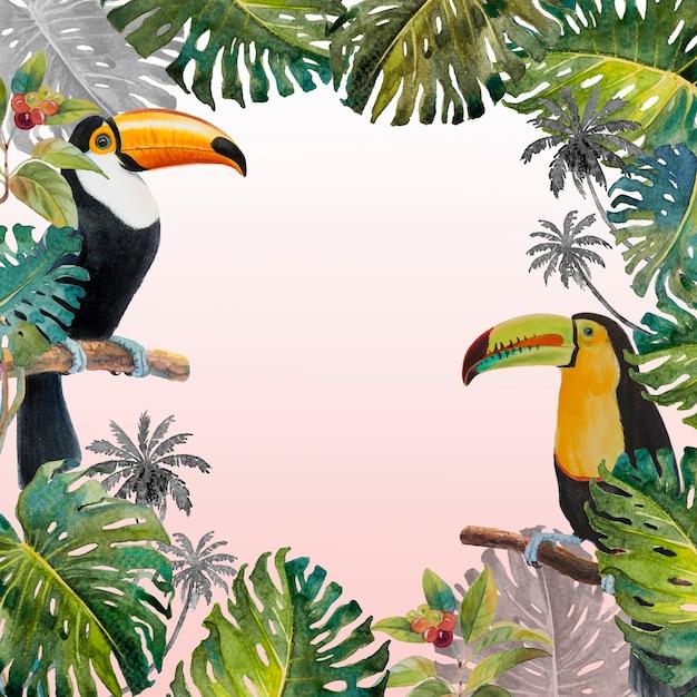 モンステラの葉とオオハシ鳥の熱帯のジャングル Premium写真