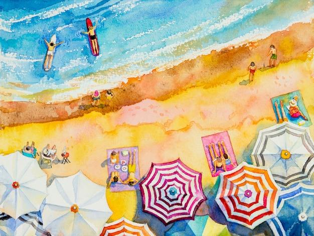 愛好家、家族のカラフルな絵画水彩画海景トップビュー。 Premium写真