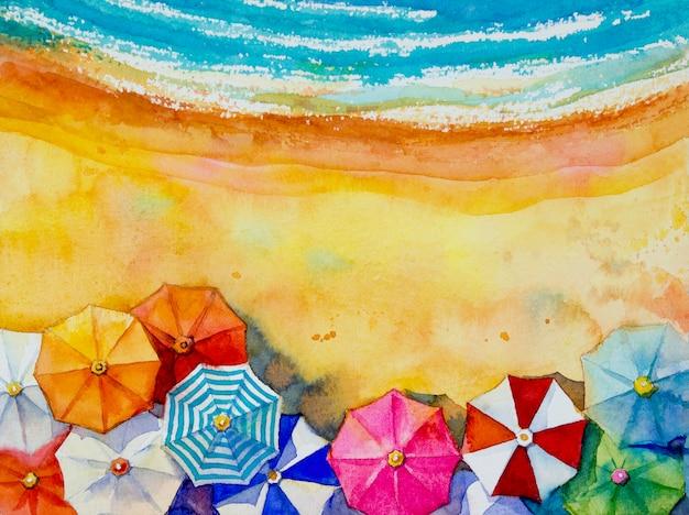 絵画水彩画海景トップビューのカラフルな旅行。 Premium写真