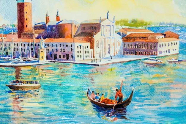 Остров сан-джорджо маджоре, венеция, италия. акварельная живопись Premium Фотографии