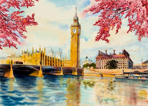 ビッグベンの時計塔とテムズ川の水彩画 Premium写真