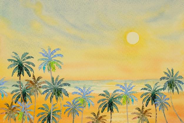 夏の美しさのビーチの波のカラフルな海の風景。 Premium写真