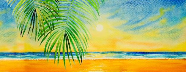 海景の紙にカラフルな水彩画。 Premium写真