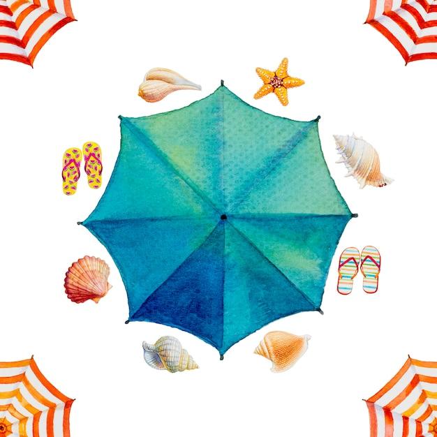 Акварельная живопись вид сверху красочный зонтик, Premium Фотографии