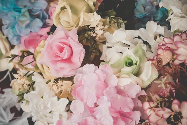 背景の美しい花束の花 Premium写真
